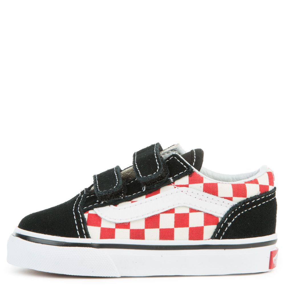 vans old skool black red checkerboard