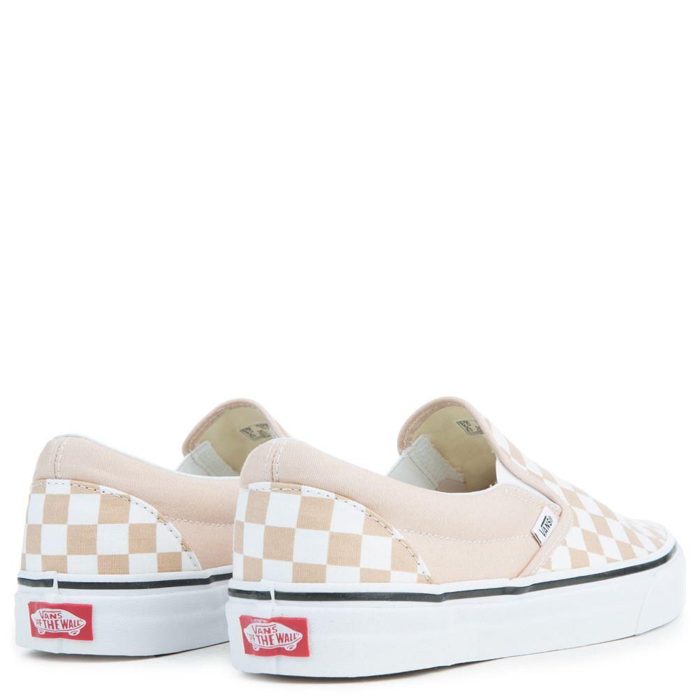 vans classic slip on checkerboard frappe true white