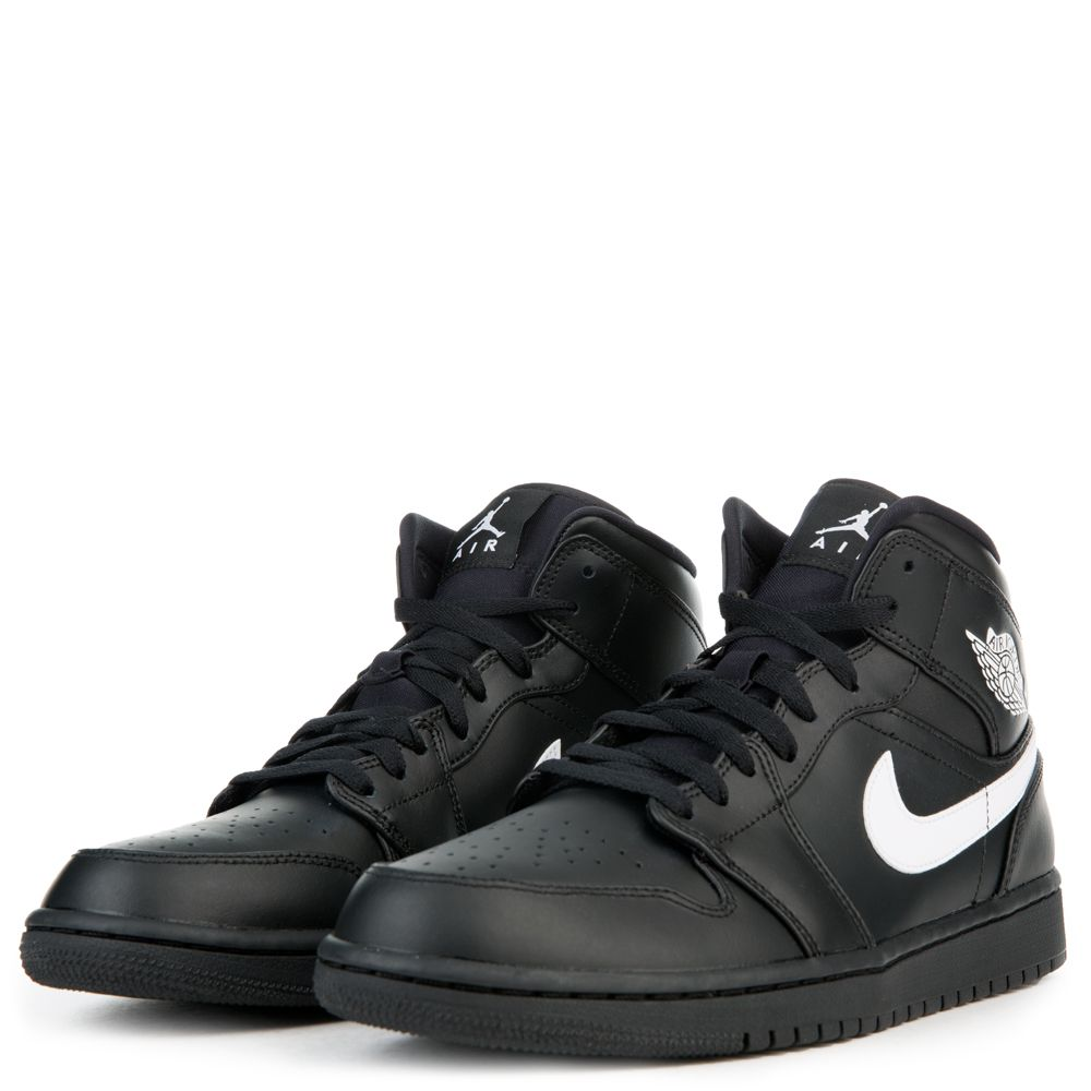 men 39 s air jordan 1 mid black white shoes mens jordan jordan brands. Black Bedroom Furniture Sets. Home Design Ideas