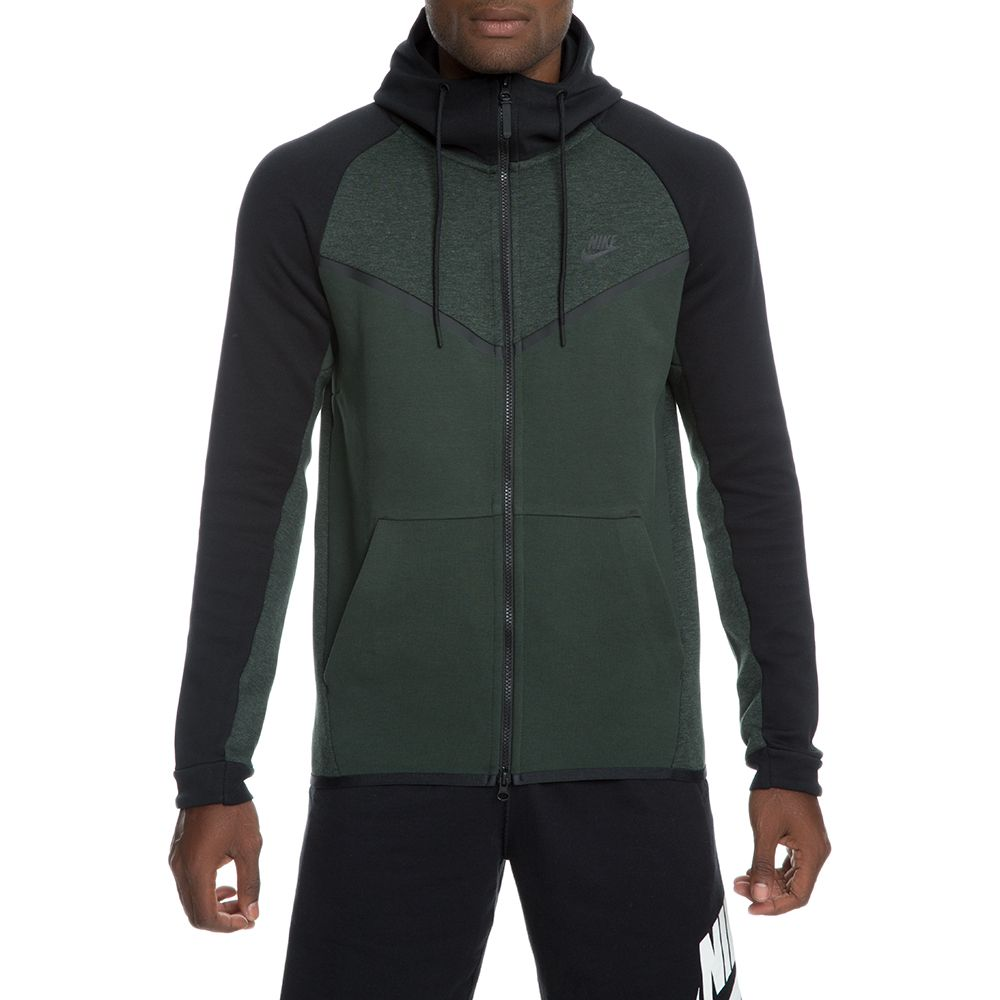 men 39 s nike tech fleece windrunner hoodie outdoor green htr black black. Black Bedroom Furniture Sets. Home Design Ideas