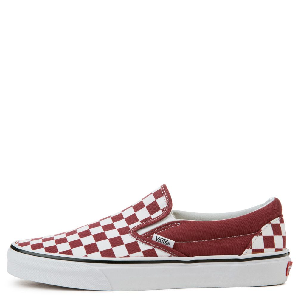 vans slip ons checkerboard red