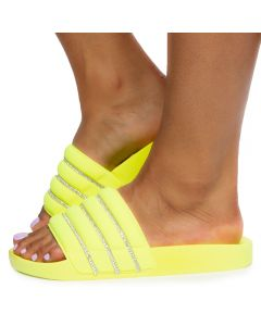 Lindy-06 Wide Band Pool Slides Neon Yellow