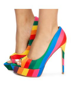 4f4f57af8e60 Henny-1 Platform Heels Rainbow Neoprene