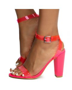 84d77a80db Mania-41 One Band Heels Neon Pink