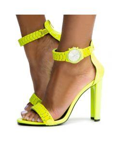 928e5b8ce0632 Daline-15 Watch Strap Heels Neon Yellow Patent