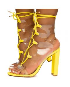 b68f018d6fc Daline-19 Lace Up Clear Heels Yellow