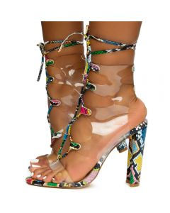 cb261d23a62 Daline-19 Lace Up Clear Heels Multi Snake