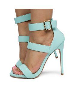 bddc9fd6b16 Women's Jesse-392 Rounded Open Toe Heels BLUE PU