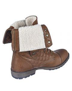 857d0e14fcfc Women s Fold Down Fur Combat Boot 1075-13 Cognac
