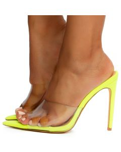 40b687fa2ce Laurent-3 Pointy Toe Heels Neon Yellow Suede