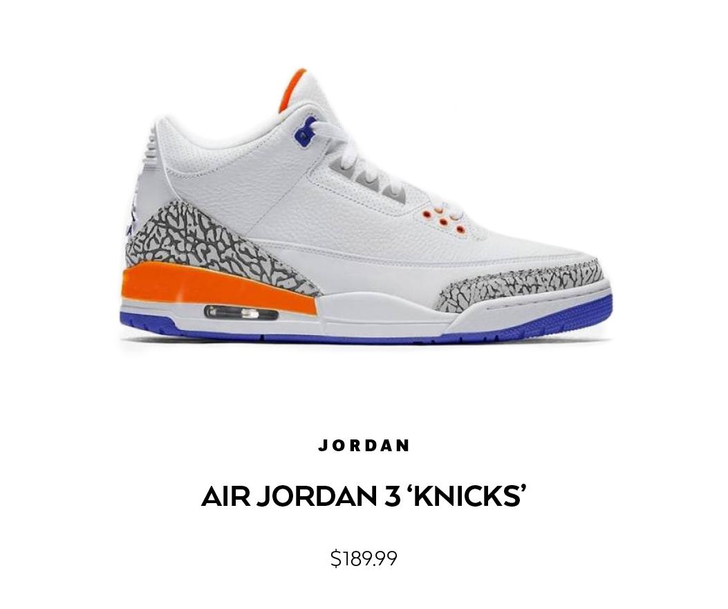 super popular 4b552 be84a Air Jordan 3 Retro 'Knicks' Shop | Shiekh.ccom